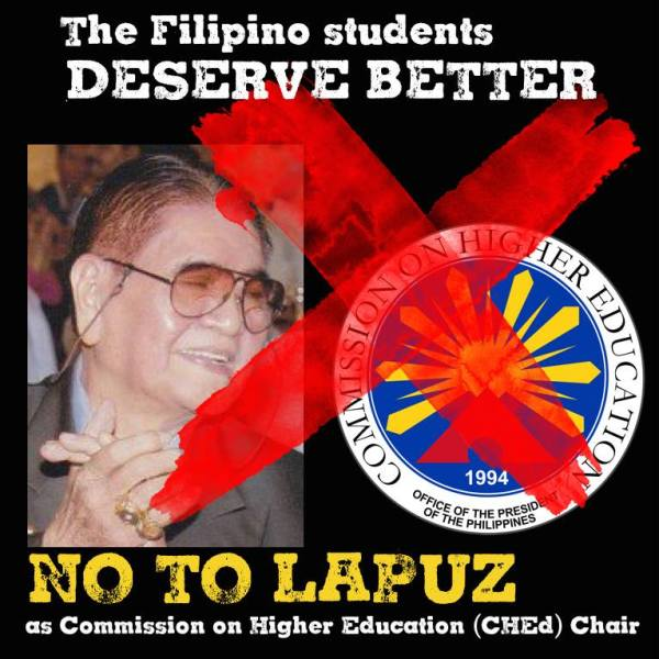 Jose David Lapuz as CHED Chair? His former students says no way.