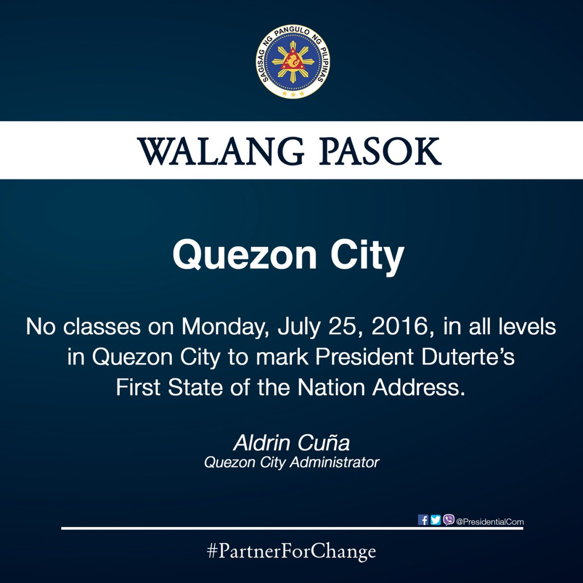 #WalangPasok - Class suspension in Quezon City for July 25 2016
