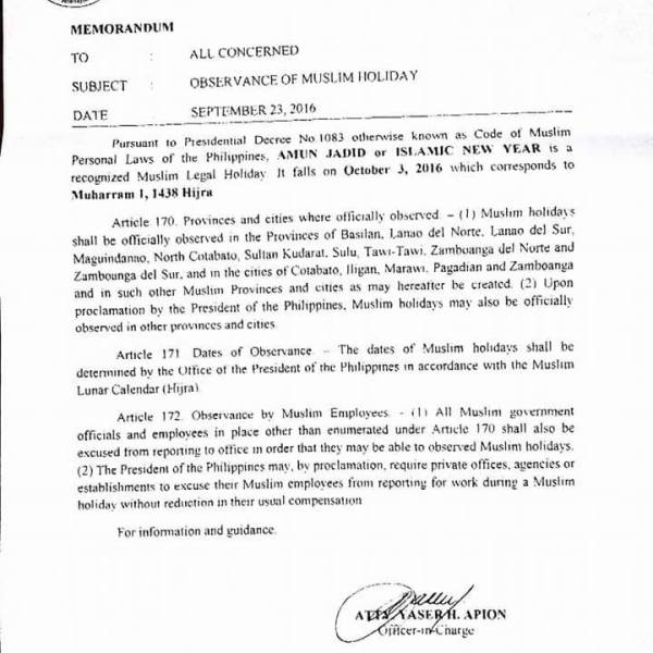 #WalangPasok – October 3 2016 declared holiday in some Mindanao provinces