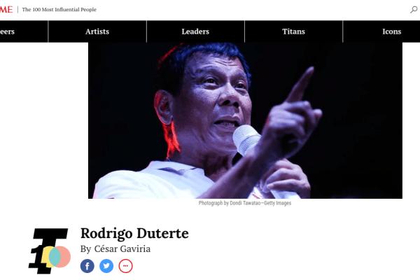 Rodrigo Duterte Time Magazine 100 most influential people
