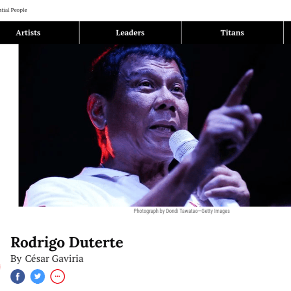 Time Magazine trolls Duterte by also including De Lima in its most influential list