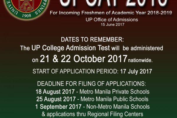 UPCAT 2018 application