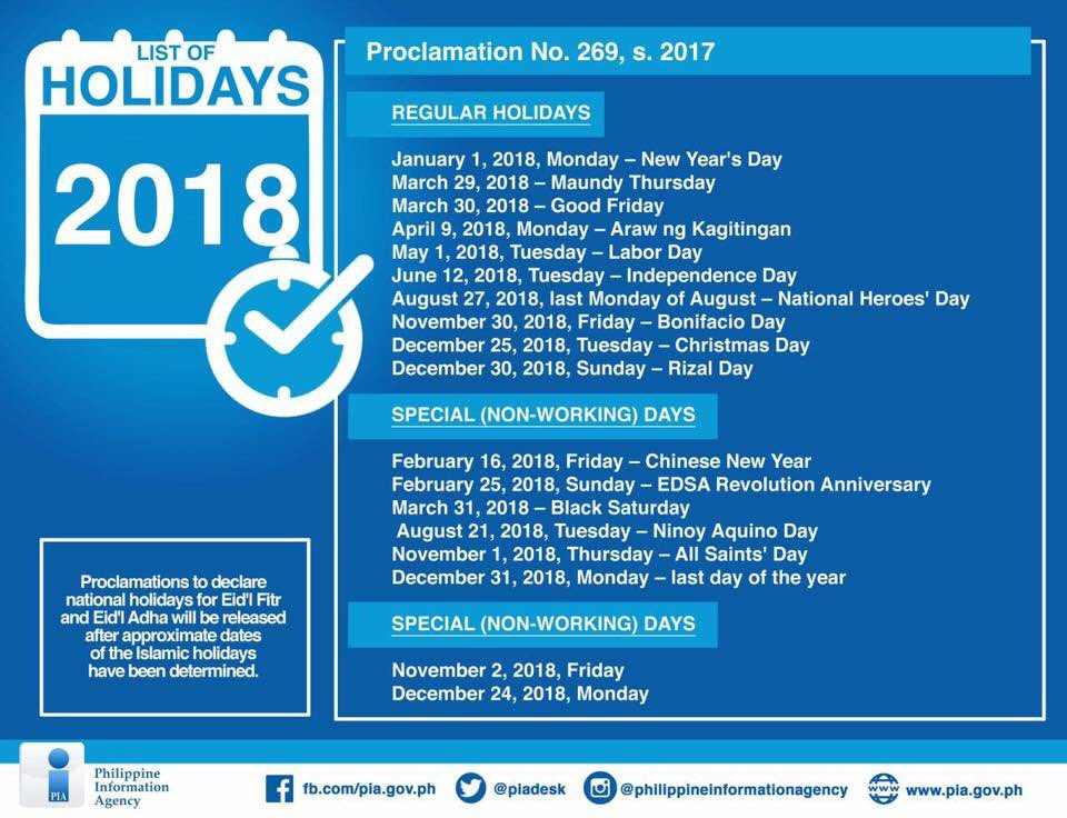 NINE LONG WEEKENDS | List of holidays for 2018 according to Malacañang