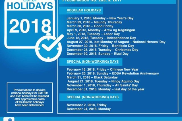 NINE LONG WEEKENDS   List of holidays for 2018 according to Malacañang