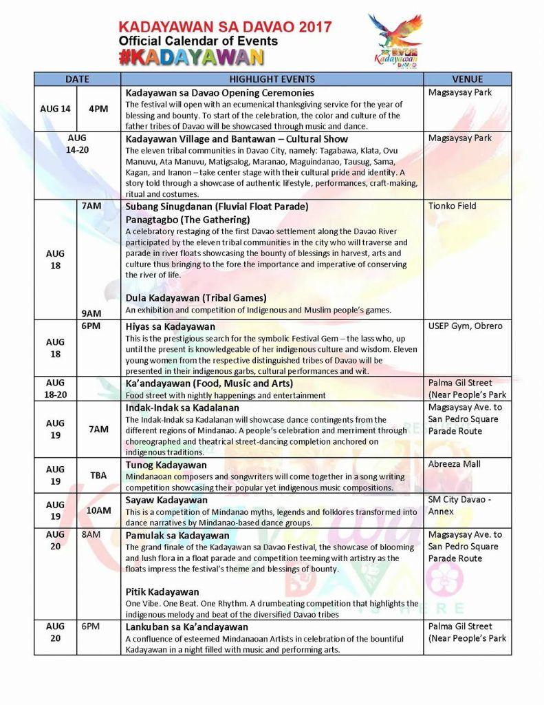 kadayawan festival 2017 calendar of activities