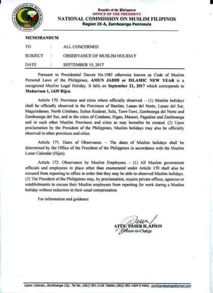 #WalangPasok – September 21 2017 declared holiday in some Mindanao provinces