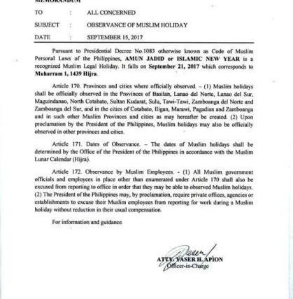 #WalangPasok – September 21 2017 declared holiday in some Mindanao provinces
