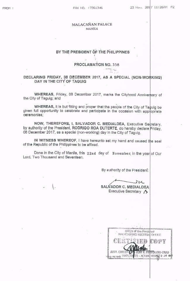 #WalangPasok - December 8 2017 declared holiday in Taguig City