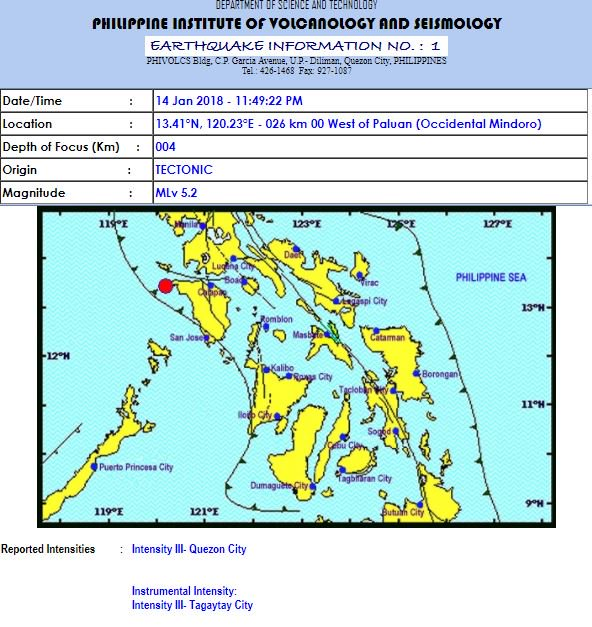 Late night quake jolts Southern Tagalog provinces, Metro Manila