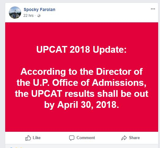 UPCAT 2018 results to be released April 30, says UP regent Spocky Farolan