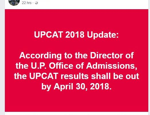 UPCAT 2018 results release date