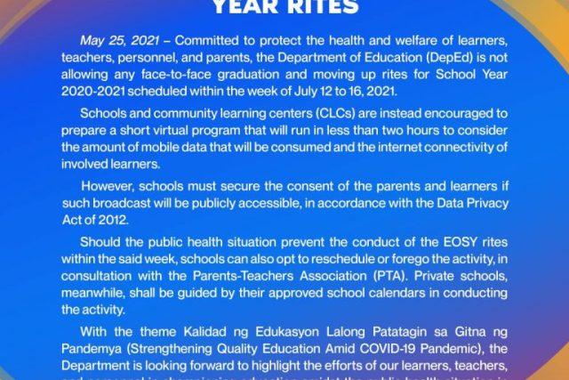 """Deped 2021 graduation theme: """"Kalidad ng Edukasyon, Lalong Patatagin sa Gitna ng Pandemya"""""""