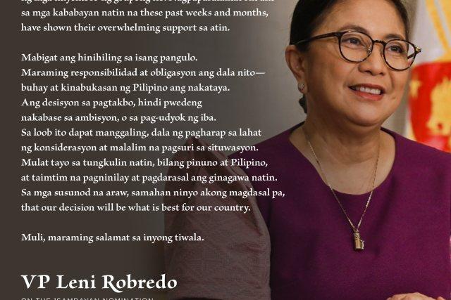 1Sambayan's premature endorsement of Leni Robredo is a big gamble