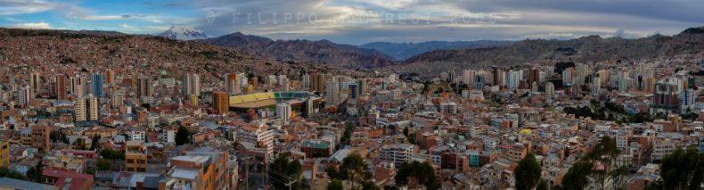 La Paz, Bolivia, panorama, Andes, mountains, stadium, Estadio Hernando Siles, cityscape, urbanscape