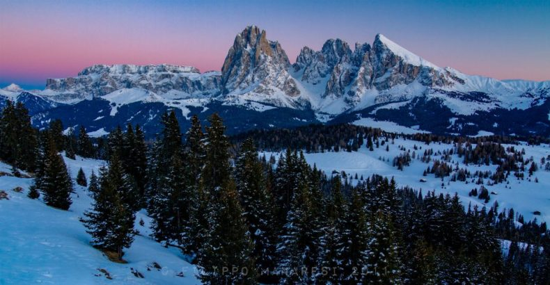 Alps, dolomites, Gherdëina, Gröden, Langkofel, mountain, Saslonch, Sassolungo, snow, South Tyrol, sunset, Val Gardena, winter