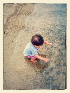 lake tahoe with a toddler lakeside