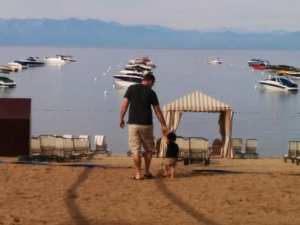 lake tahoe with a toddler lakefront