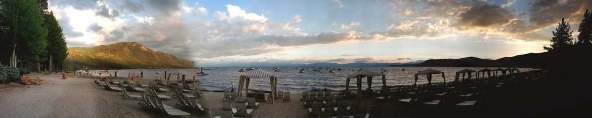 lake tahoe with a toddler pano