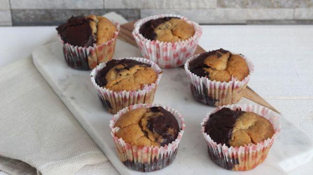 Banana bread muffin mi chocolat