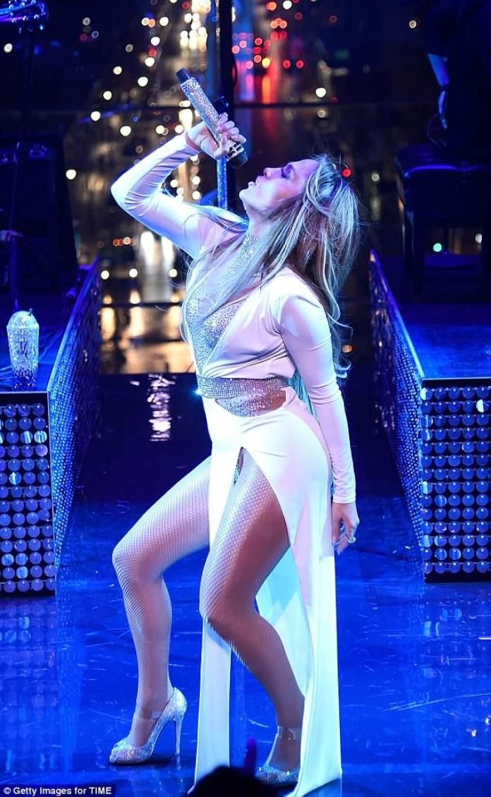 Jennifer Lopez, Flashes, Plunging, Champagne Gown, at, Time, 100 Gala, NYC, Perform, onstage, eye-popping outfit