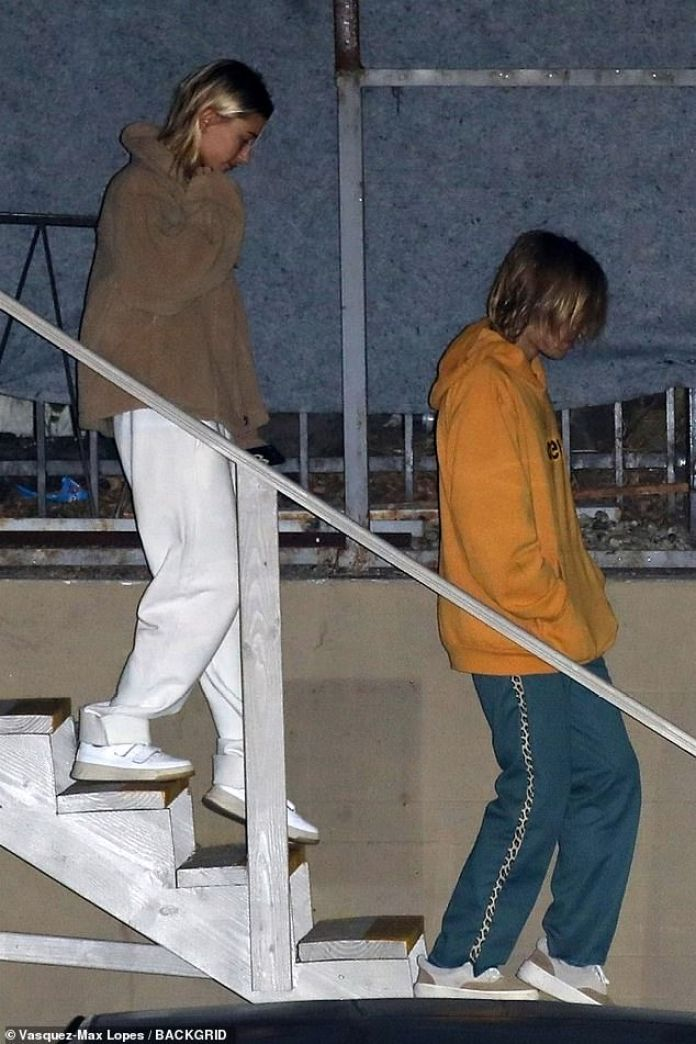 The couple that pray together: Justin and Hailey went to church in Beverley Hills on Tuesday