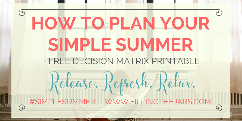 Learn how using the Eisenhower Matrix will help you decide what's truly important as you plan your best Simple Summer. {Plus, get a free printable!} | www.fillingthejars.com