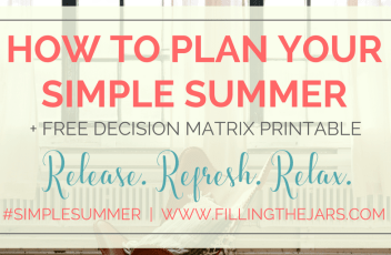 Using the Eisenhower Matrix to Plan Your Simple Summer | Learn how using the Eisenhower Matrix will help you decide what's truly important as you plan your best Simple Summer. {Plus, get a free printable!} | www.fillingthejars.com