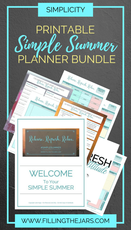 The Simple Summer planner bundle: Create your best summer ever — printable planner and journal pages, printable checklists, motivational printables. Details here…