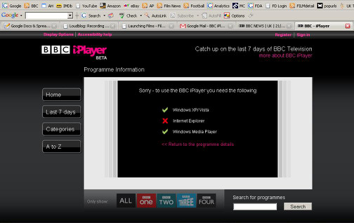 BBC iplayer 2 - software requirements