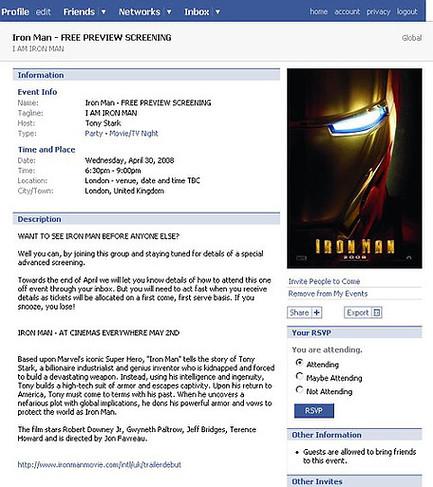 Iron Man Facebook screening invite
