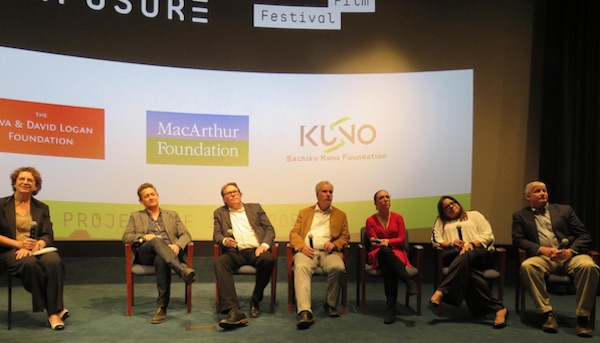 (l to r) Moderator Wendy Benjaminson, the managing editor of the Washington Bureau for McClatchy; director Alex Winter; Kevin Hall (McClatchey); Tim Johnson (McClatchey); Emilia Diaz-Struck from International Consortium of Investigative Journalists (ICIJ); RitaVasquez, editor-in-chief of the newspaper La Prensa; Scott Bronstein, senior producer and writer for CNN's investigating unit