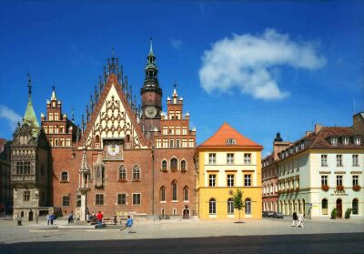 Wroclaw, Poland - City Hall and Sukiennice St.