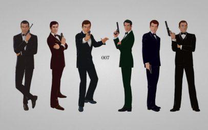 De 6 James Bond acteurs - Sean Connery, George Lazenby, Roger Moore, Timothy Dalton, Pierce Brosnan en Daniel Craig