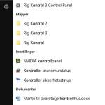 Søk etter kontrollpanel windows 10