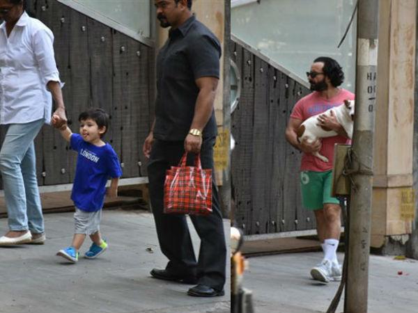 Baby Nawab & Daddy Nawab Go For A Walk