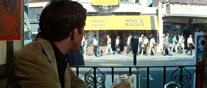 Moes Books makes an appearance in The Graduate when Dustin Hoffmans character travels to Berkeley.