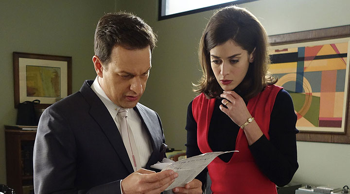Josh Charles as Dan Logan and Lizzy Caplan as Virginia Johnson in Masters of Sex (season 3, episode 4) - Photo: Warren Feldman/SHOWTIME Photo ID: MastersofSex_304_0747
