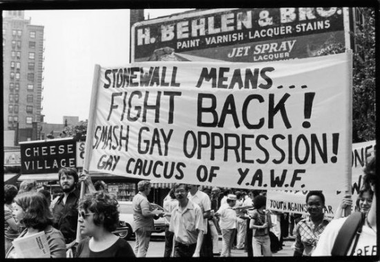 Members of YAWF (Youth Against War & Fascism) carry a banner in the Fifth Annual Gay Pride Day march (Gay Liberation Day), New York, New York, June 30, 1974. It reads 'Stonewall Means... Fight Back! Smash Gay Oppression!' (Photo by Fred W. McDarrah/Getty Images)
