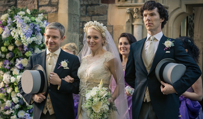 Picture shows: John Watson (MARTIN FREEMAN), Mary Morstan (AMANDA ABBINGTON) and Sherlock Holmes (BENEDICT CUMBERBATCH)