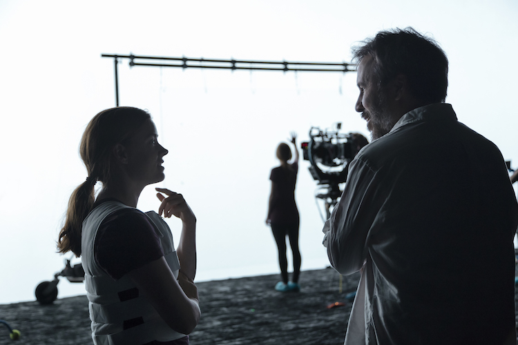 (L-R) Amy Adams and director, Denis Villeneuve on the set of the film ARRIVAL by Paramount Pictures