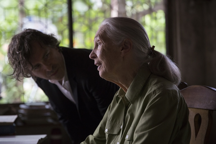 Jane Goodall and award-winning director Brett Morgan during the production of Jane in Tanzania.  (photo credit: National Geographic/David Guttenfelder)