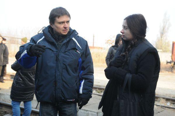 Cristian Mungiu şi Cosmina Stratan la filmări