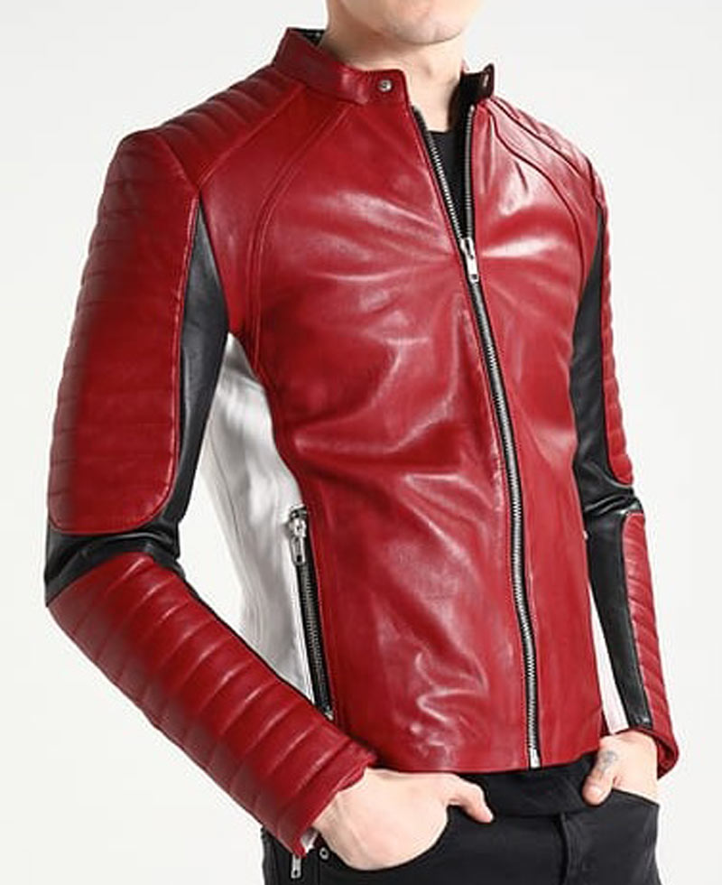 Men S Biker Padded Sleeves Red And White Leather Jacket