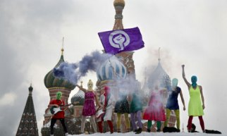 Pussy Riot protest at the Kremlin in Moscow.