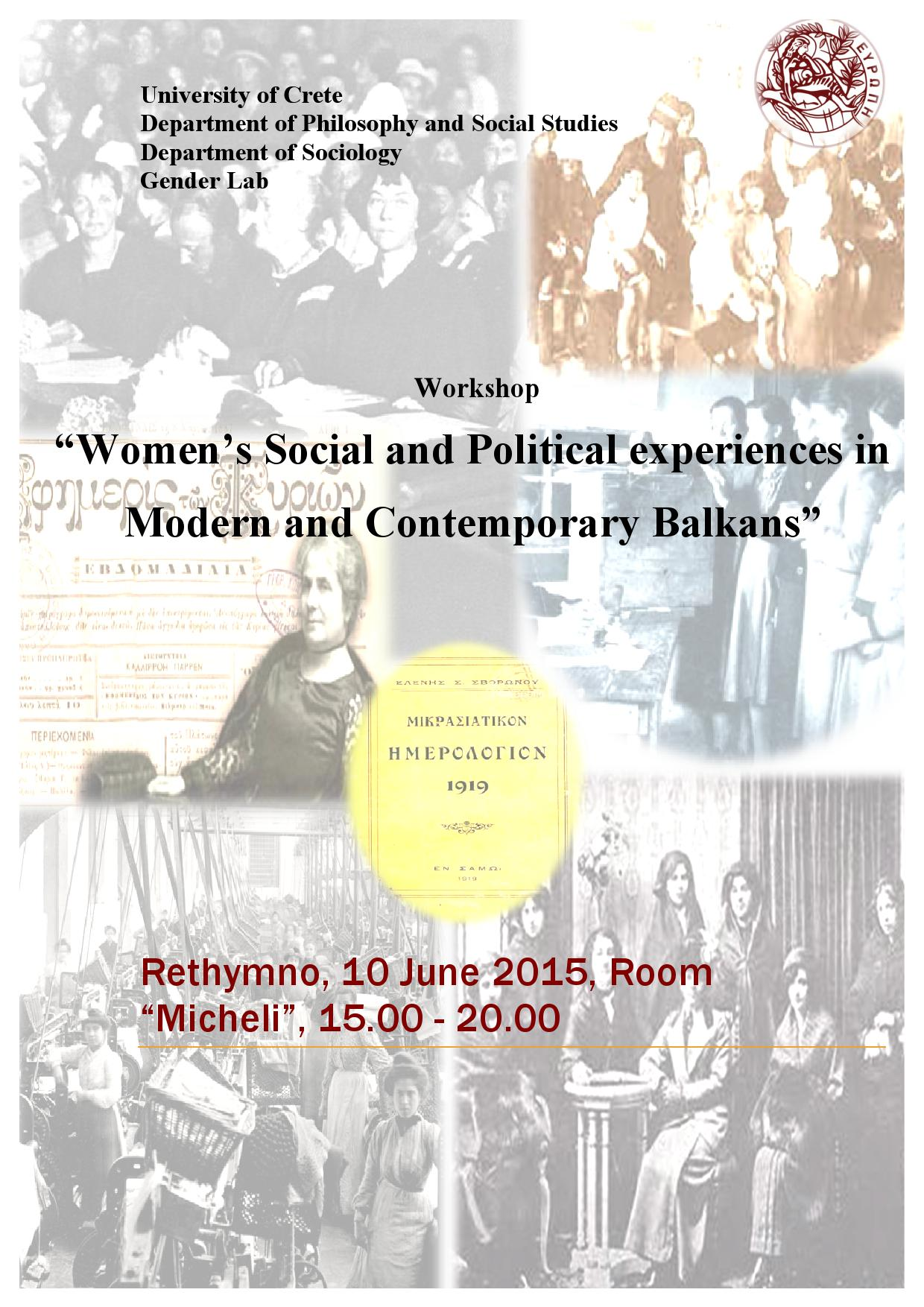 Women's Social and Political experiences in Modern and Contemporary Balkans