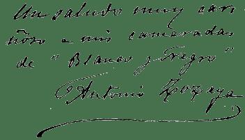 Dedicatoria de Antonio Zozaya a los lectores de Blanco y Negro