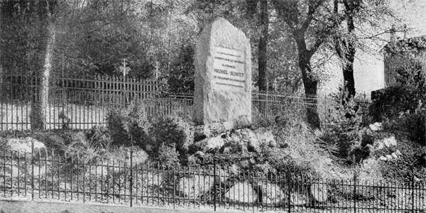 El monumento expiatorio que los calvinistas de Ginebra erigieron en Champel a Servet en 1903, disculpando a Calvino para desvirtuar el verdadero que debió de erigírsele [foto y pie tomados del libro de Pompeyo Gener]