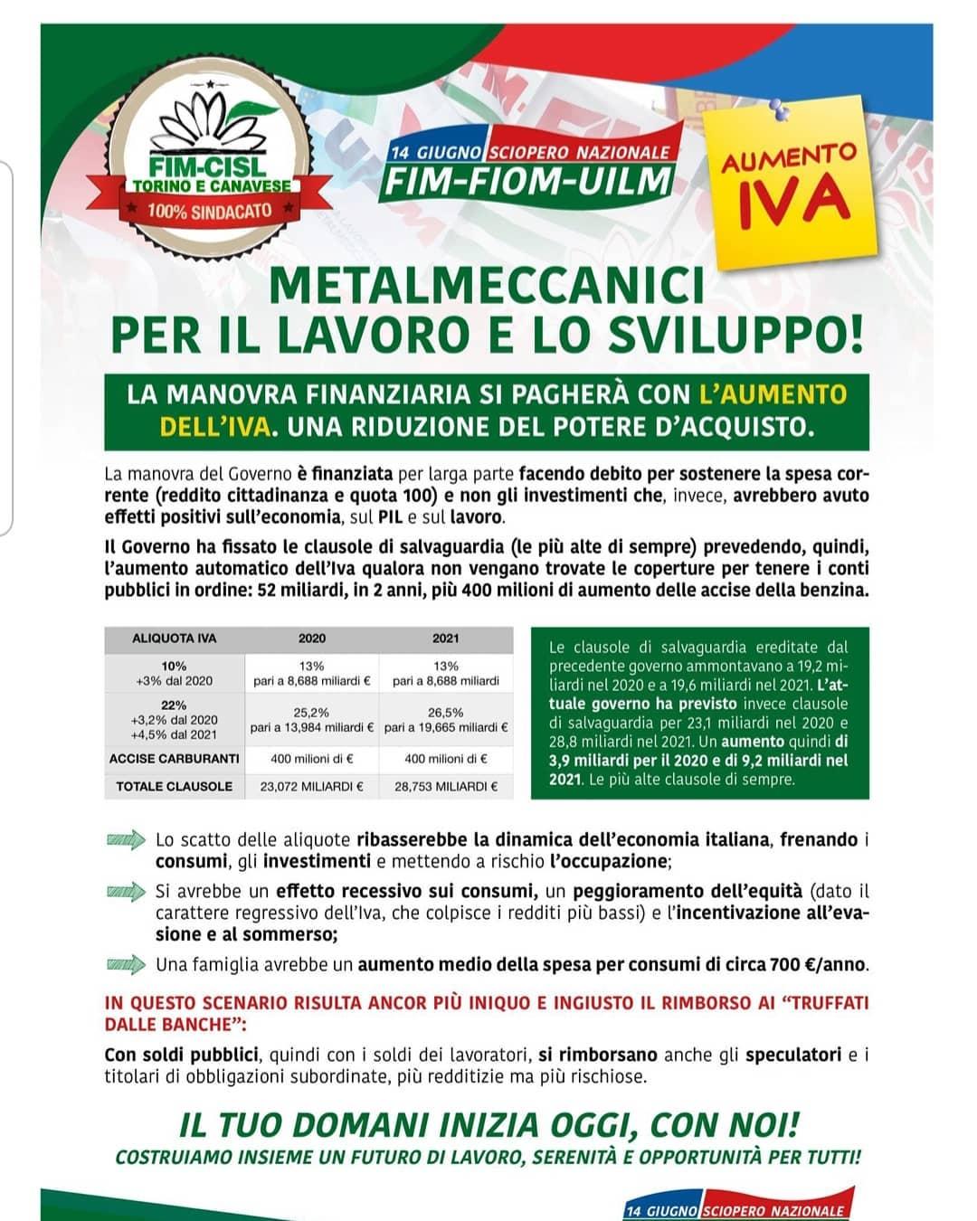 14 GIUGNO 2019 MILANO – SAVETHEDATE: SCIOPERO NAZIONALE METALMECCANICI