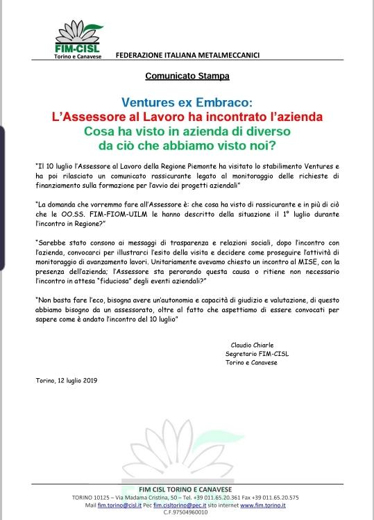 VENTURES EX EMBRACO – ASSESSORE AL LAVORO HA INCONTRATO L'AZIENDA