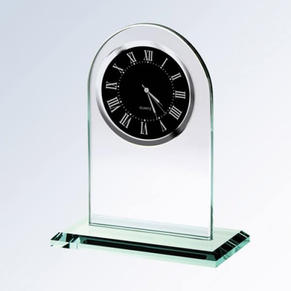 Jade Glass Arch Clock Black